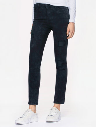 CALVIN KLEIN CRACKED BLACK WASH HIGH RISE SKINNY JEANS