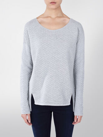 CALVIN KLEIN CELESTE COTTON MODAL SILK SCOOP NECK SWEATER