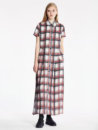 CALVIN KLEIN PLAID PRINTED SILK DOUBLE LAYER DRESS