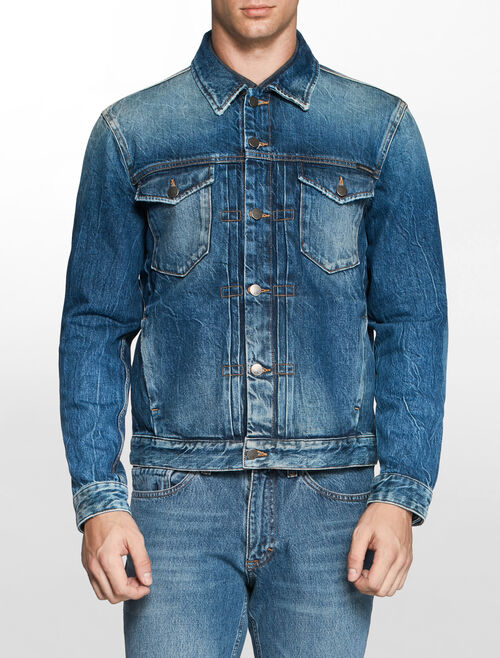 CALVIN KLEIN PEPPERY PLEAT DENIM JACKET