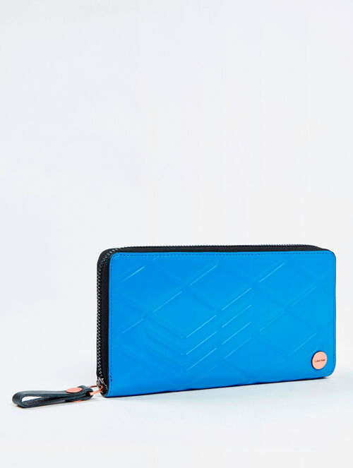 CALVIN KLEIN CITY GRID TEXTURED LONG ZIP AROUND WALLET