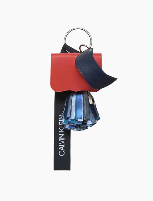 CALVIN KLEIN calf leather charm bag