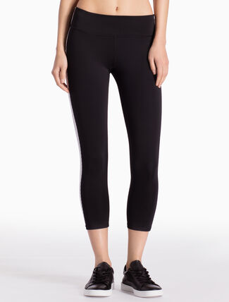 CALVIN KLEIN BONDED CROPPED LEGGINGS WITH SIDE STRIPES