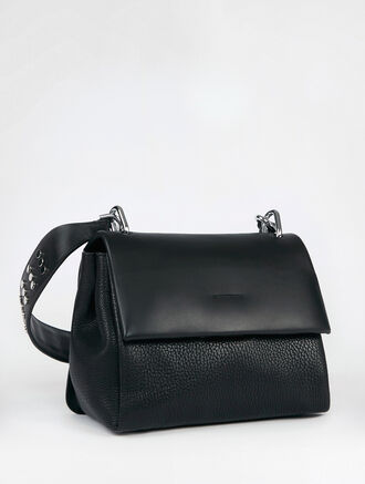 CALVIN KLEIN FENDERED SMALL SATCHEL WITH STUD