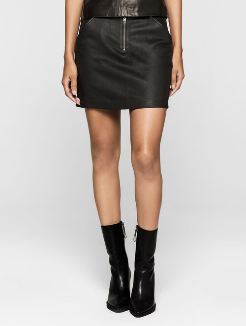 CALVIN KLEIN REBEL EDGE LEATHER SKIRT