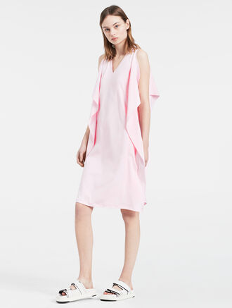 CALVIN KLEIN COMPACT INTERLOCK RUFFLE DRESS