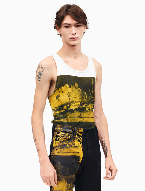 CALVIN KLEIN car crash sleeveless tank top