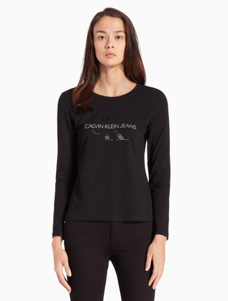 CALVIN KLEIN SATIN MONOGRAM LOGO LONG SLEEVE TEE