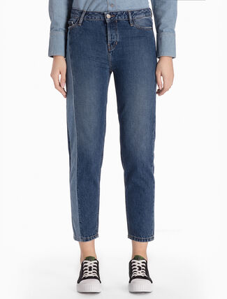 CALVIN KLEIN DARK VERTICAL HIGH STRAIGHT CROPPED JEANS