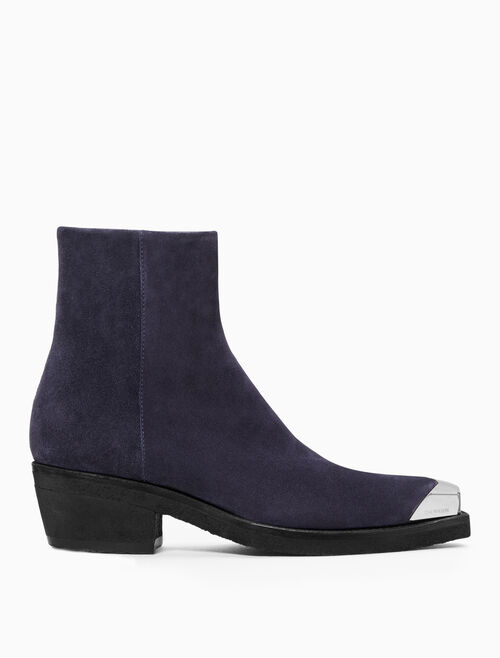 CALVIN KLEIN WESTERN ANKLE BOOT IN SUEDE WITH SILVER TOE CAP