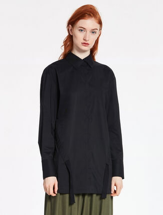 CALVIN KLEIN NEW FINE STRETCH POPLINE LONG SLEEVES TOP