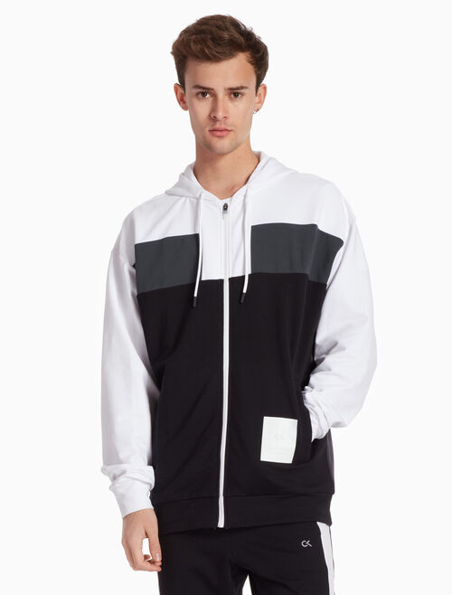 CALVIN KLEIN COLOR BLOCK ZIP UP HOODIE