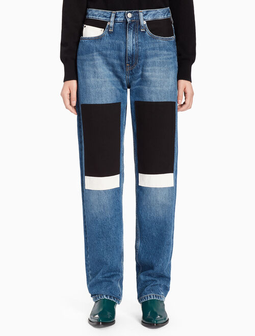 CALVIN KLEIN PATCHWORK HIGH RISE STRAIGHT SELVEDGE JEANS