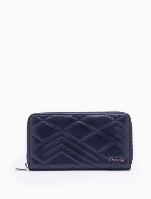 CALVIN KLEIN CITY GRID GUILT LONG ZIP AROUND WALLET