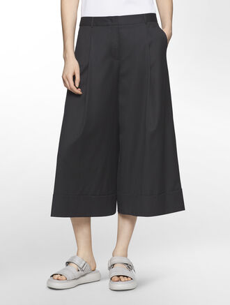 CALVIN KLEIN SMOOTH WOOL WIDE PANTS