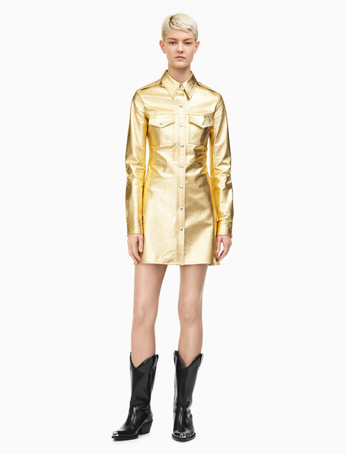 CALVIN KLEIN Leather Uniform Shirt Dress In Gold