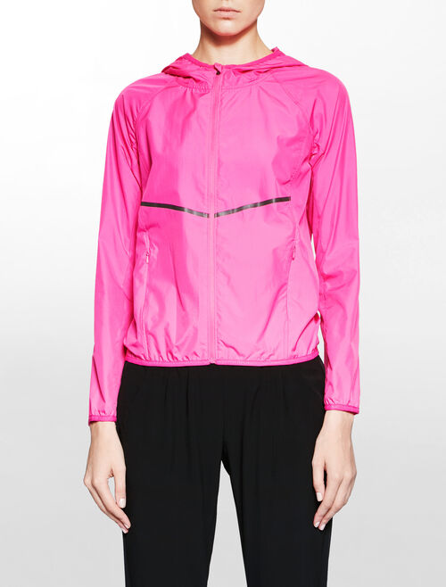 CALVIN KLEIN MODERN NEON HOODED PACKABLE WOVEN WIND JACKET