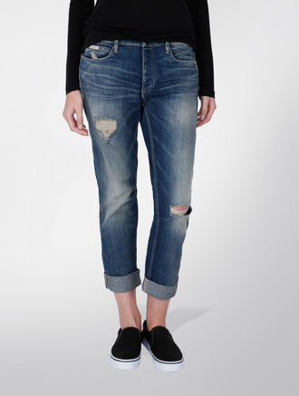 CALVIN KLEIN SLIM BOYFRIEND JEANS - DESTRUCTED THUNDER CLOUD