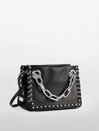 CALVIN KLEIN FLARED SMALL SATCHEL WITH CHAIN AND PIERCINGS