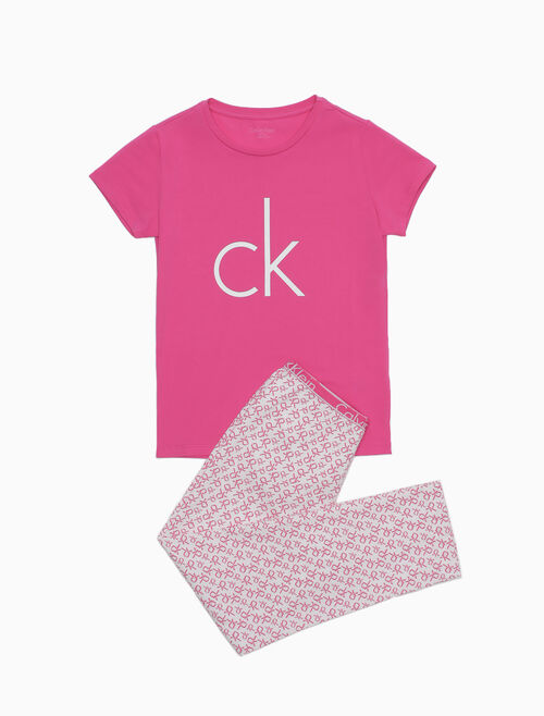 CALVIN KLEIN MODERN COTTON SHORT SLEEVES WOVEN PAJAMA SET