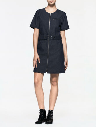CALVIN KLEIN DENIM BELTED SHORT SLEEVE DRESS