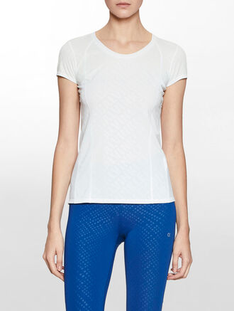 CALVIN KLEIN MESH INSERT ALL OVER PRINT SHORT SLEEVE TEE
