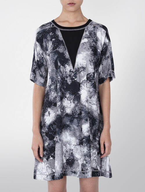 CALVIN KLEIN RANA CREPE CREW NECK PRINT DRESS