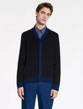 CALVIN KLEIN EXTRAFINE WOOL Long Sleeves BUTTON UP CARDIGAN