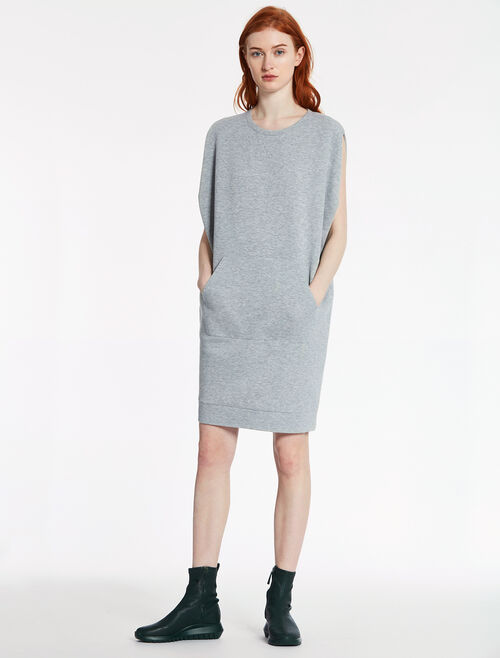 CALVIN KLEIN AIRY DOUBLE KNIT Short Sleeves CUT-OUT SHOULDER EASY DRESS
