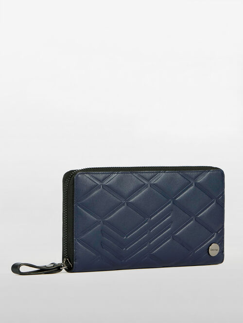 CALVIN KLEIN CITY GRID AMPLIFIED ZIP AROUND LONG WALLET