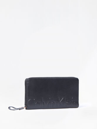CALVIN KLEIN MAGNIFIED LONG ZIP AROUND WALLET