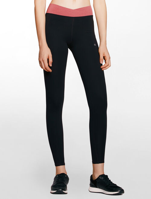 CALVIN KLEIN overlapped design waistband full length legging