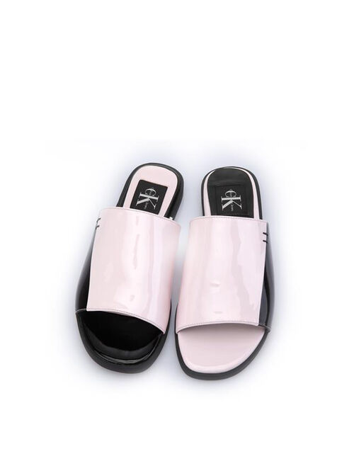 CALVIN KLEIN PATENT LEATHER SLIDE SANDALS