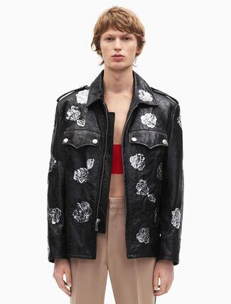 CALVIN KLEIN embossed policeman metallic floral applique jacket