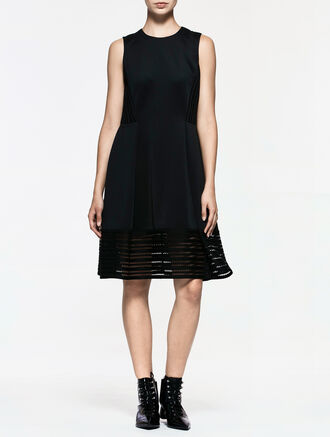 CALVIN KLEIN COMPACT STRETCH LACE SLEEVELESS FLARE DRESS