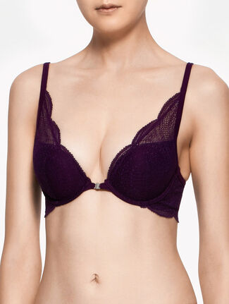CALVIN KLEIN PERFECTLY FIT WITH LACE PLUNGE PUSH UP BRA