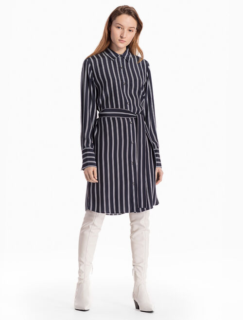CALVIN KLEIN WOVEN STRIPED SHIRT DRESS WITH TIE BELT