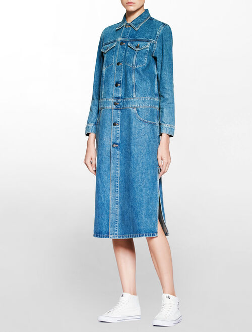 CALVIN KLEIN RUGGED BLUE DENIM COAT