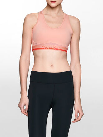 CALVIN KLEIN MEDIUM IMPACT RACERBACK TOP WITH CK LOGO WAISTBAND