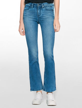 CALVIN KLEIN SCULPTED AURORA BLUE SLIM BOOT CUT JEANS