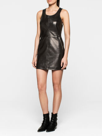 CALVIN KLEIN REBEL EDGE LEATHER DRESS