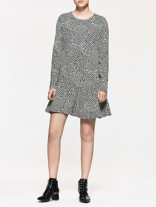 CALVIN KLEIN JACQUARD ZIG-ZAG DRESS