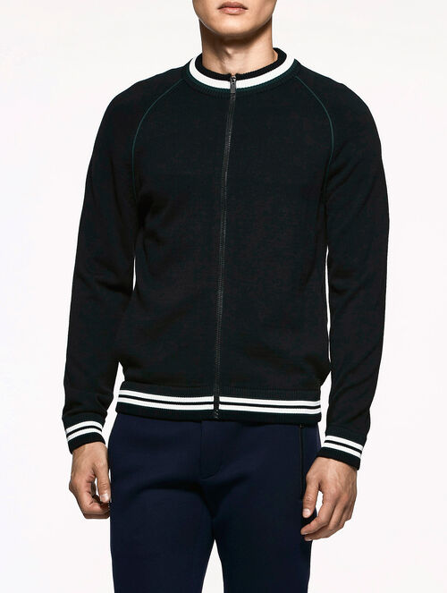 CALVIN KLEIN HIGH TWIST DRY WOOL ZIP UP CARDIGAN