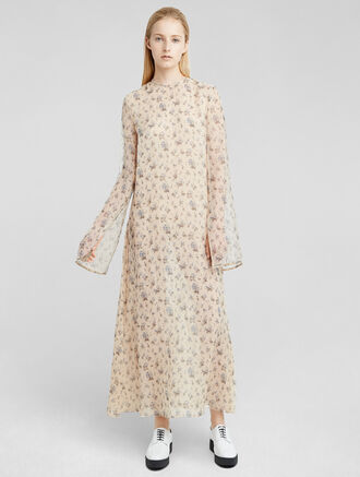 CALVIN KLEIN FLORAL PRINT ORGANZA DRESS