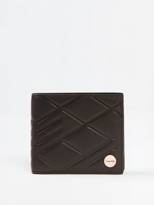 CALVIN KLEIN CITY GRID TEXTURED BILLFOLD WITH COIN CASE