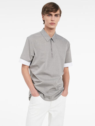 CALVIN KLEIN FLECKED COTTON SHORT SLEEVE SHIRT