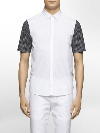 CALVIN KLEIN REFINED POPLIN SHORT SLEEVES SHIRT WITH MESH COMBO( SEAN FIT )