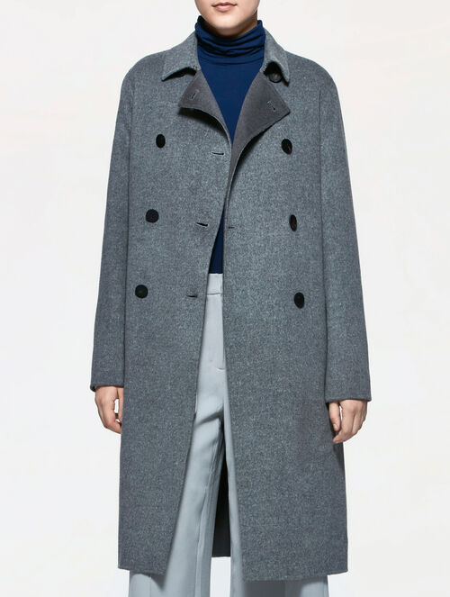 CALVIN KLEIN WOOL CASHMERE LONG TRENCH COAT