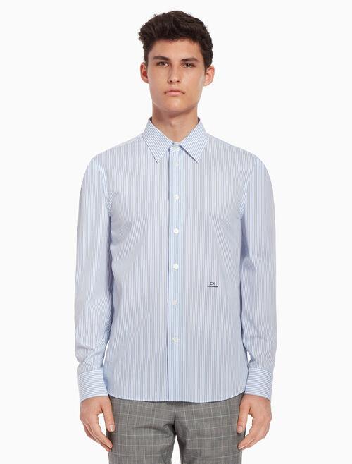 CALVIN KLEIN Pinstriped shirt with logo