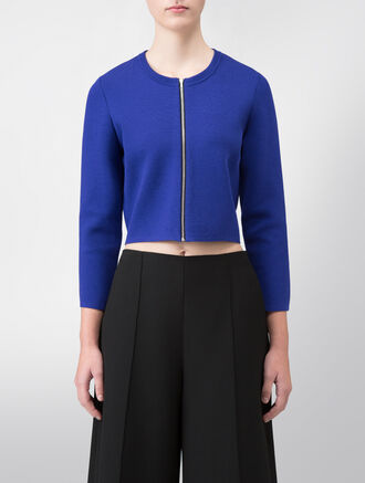 CALVIN KLEIN SUPER HIGH TWIST SILK (P/W SPANDEX) ZIP UP CROP CARDIGAN